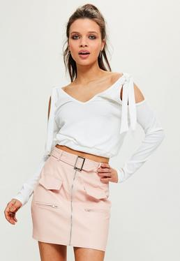 White Tie Detail Cold Shoulder Ribbed Crop Top