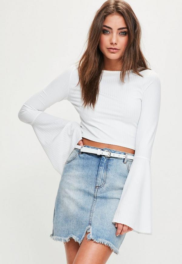 White Ribbed Flared Sleeve Crop Top