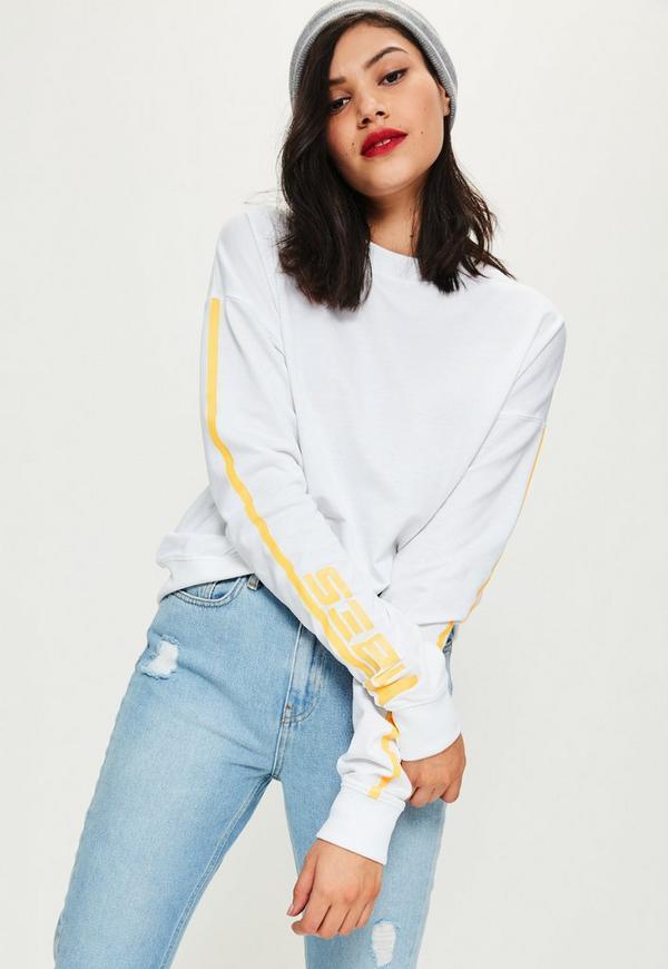 White Vibes Slogan Printed Sweatshirt