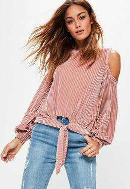 Pink Velvet Cold Shoulder Tie Hem Sweatshirt