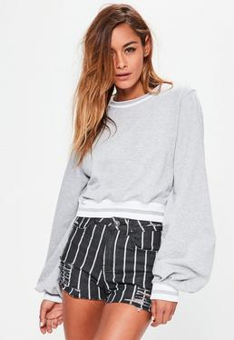 Grey Blouson Sleeve Stripe Cropped Sweatshirt