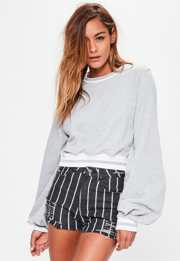 Grey Blouson Sleeve Stripe Cropped Sweatshirt