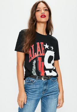 Black Spliced Alabama Oversized T-Shirt