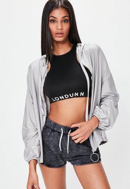 LONDUNN + Missguided Chaqueta brillante con capucha estilo oversize en gris