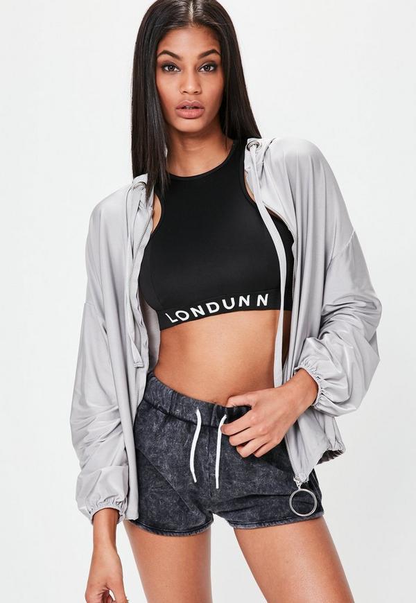 Londunn + Missguided Grey Oversized Slinky Zip Through Hoodie