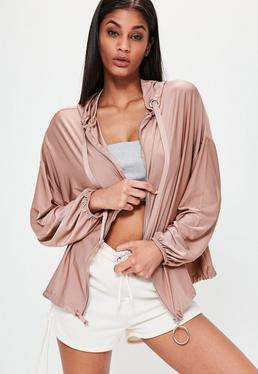 Londunn + Missguided Pink Oversized Slinky Zip Through Hoodie