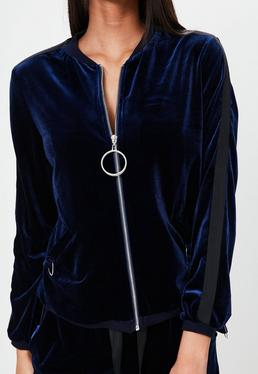 Londunn + Missguided Navy Velour Bomber Jacket