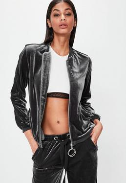Londunn + Missguided Grey Velour Bomber Jacket