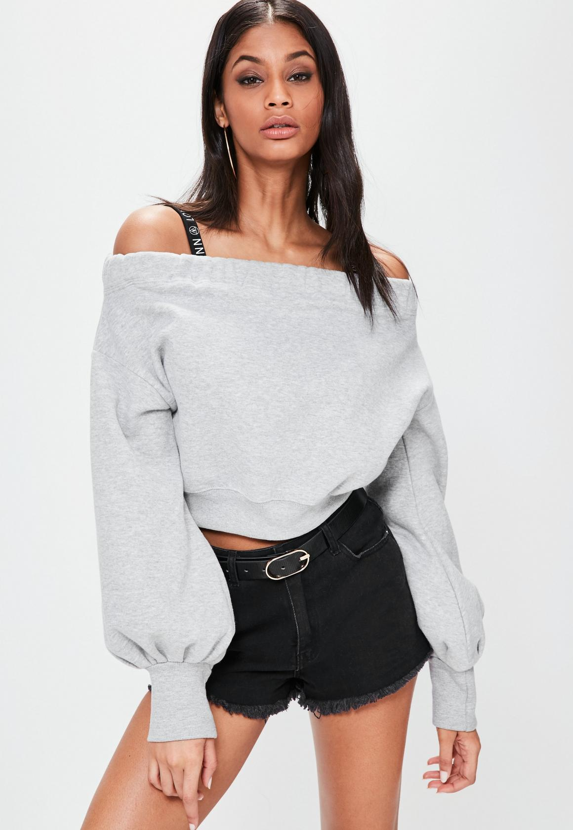 Londunn + Missguided Grey Loopback Bardot Top