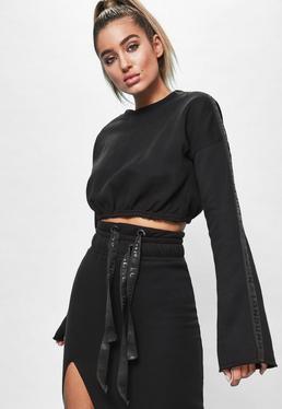 Czarna krótka bluza z szerokimi rękawami Londunn + Missguided