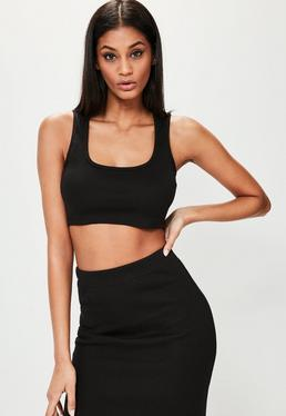 Londunn + Missguided Black Ribbed Jersey Crop Top