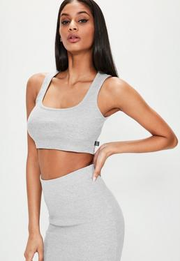 Londunn + Missguided Grey Ribbed Jersey Crop Top