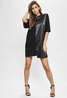 Londunn + Missguided Black Spliced Satin Jersey T-shirt Dress