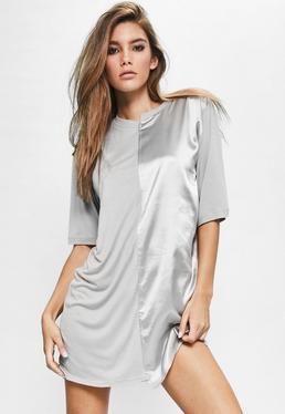 Londunn + Missguided Grey Spliced Satin Jersey T-shirt Dress