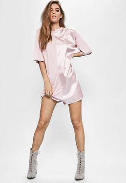Londunn + Missguided Pink Spliced Satin Jersey T-shirt Dress