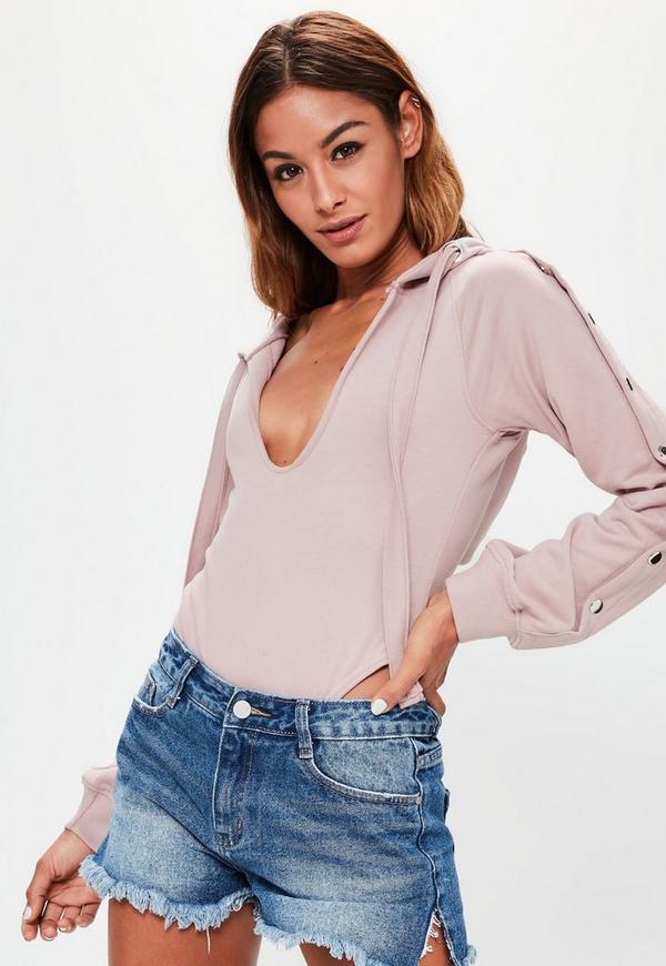 Londunn + Missguided Pink Loopback Popper Sleeve Bodysuit