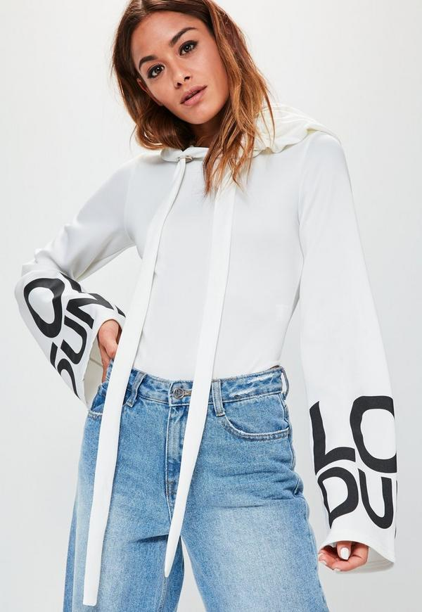 Londunn + Missguided White Wide Sleeve Logo Bodysuit