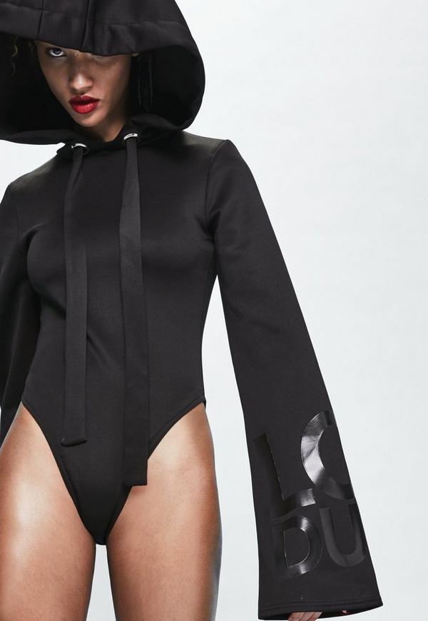 Londunn + Missguided Black Wide Sleeve Black Logo Bodysuit