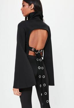 Londunn + Missguided Black Open Back High Neck Top