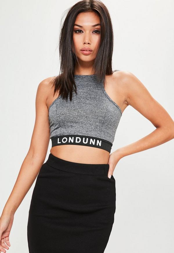 Londunn + Missguided Grey Racer Back Logo Crop Top