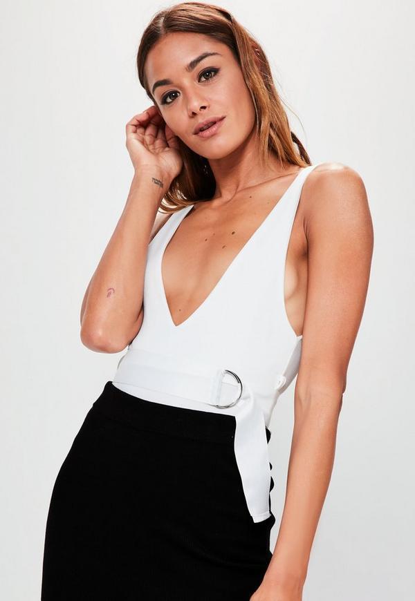 Londunn + Missguided White Crepe Belted V Neck Bodysuit