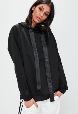 Czarna bluza z kapturem z materiału scuba Londunn + Missguided
