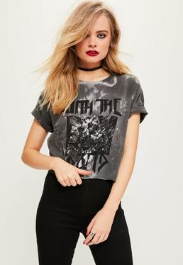 Grey With The Band Studded Crop Top