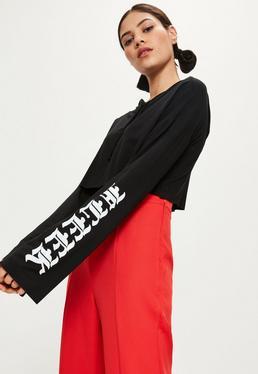 Black On Fleek Printed Sleeve Cropped Hoodie
