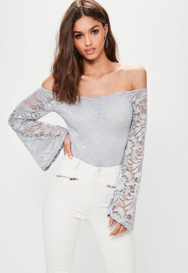 Grey Lace Bardot Bodysuit