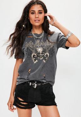 Grafik-T-Shirt mit Def Leppard-Bandaufdruck und Fetzen-Rissen Distressed Details in Grau