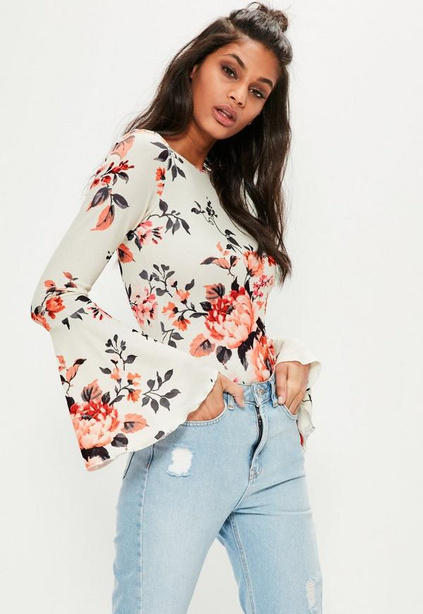 8543f5343e Cream Floral Printed Long Sleeve Bodysuit