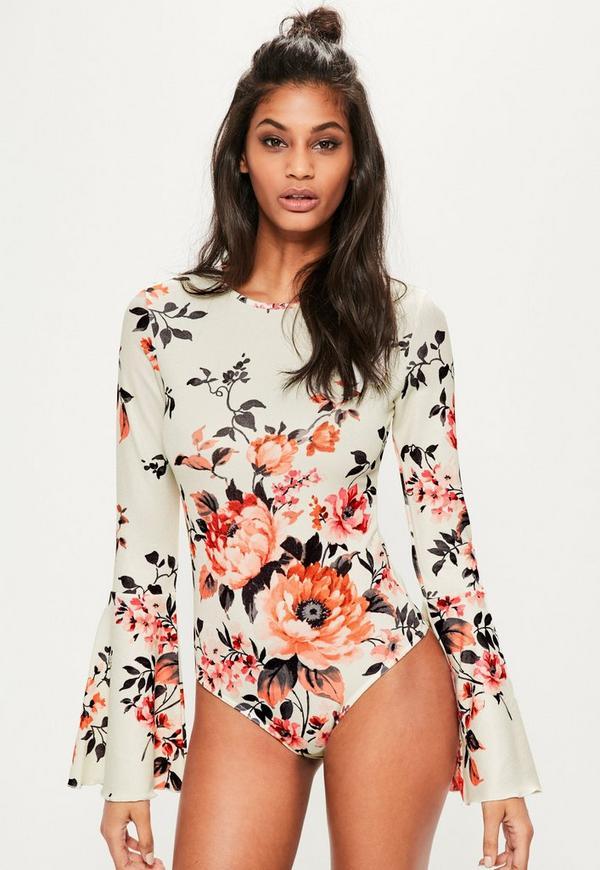 8ab2d7a4a1 Cream Floral Printed Long Sleeve Bodysuit. Previous Next