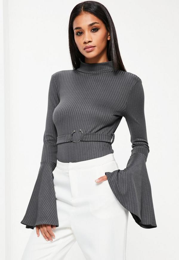 Grey Belted Flared Sleeve Ribbed Bodysuit