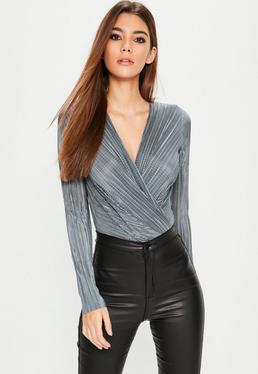 Grey Pleated Wrap Bodysuit
