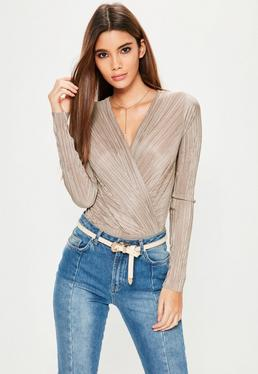 Nude Pleated Wrap Bodysuit