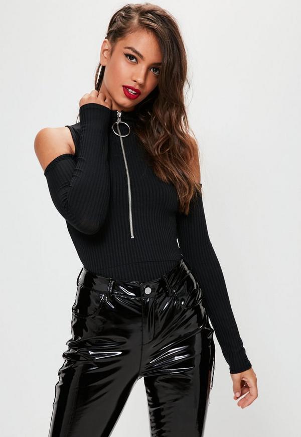 Black Cold Shoulder Ring Zip Ribbed Bodysuit