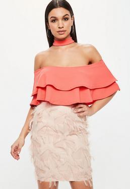 Pink Frill Bardot Choker Neck Bodysuit