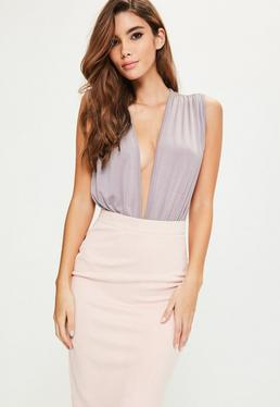 Purple Pleated V Front Sleeveless Bodysuit