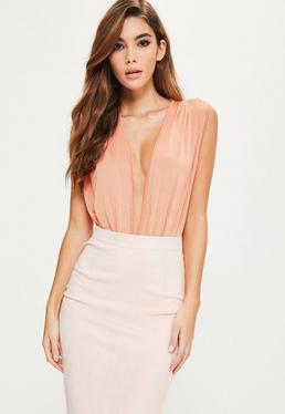 Pink Pleated V Front Sleeveless Bodysuit