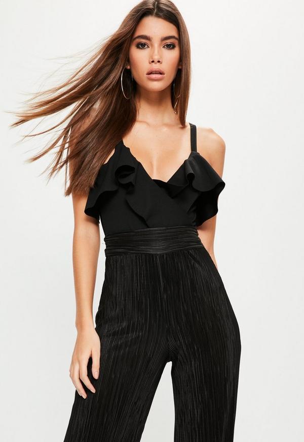 Black Frill Front Wrap Bodysuit