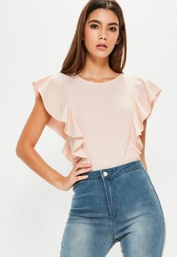 Pink Frill Capped Sleeve Bodysuit