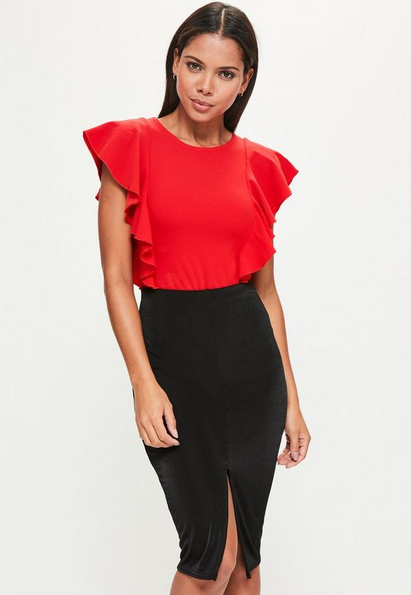 Red Frill Capped Sleeve Bodysuit