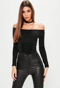 Black Corset Detail Bardot Bodysuit