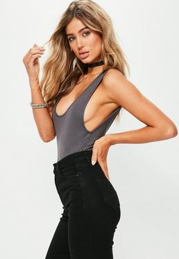Grey Scoop Back Bodysuit