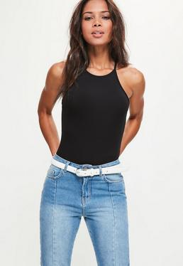 Black Racer Neck Sleeveless Bodysuit