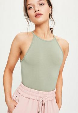 Green 90s Neckline Sleeveless Bodysuit