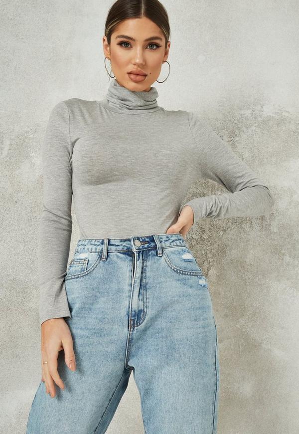 Grey Funnel Neck Long Sleeve Bodysuit  8c3dbafea