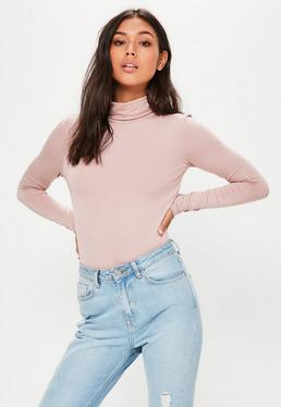 Pink Long Sleeve Turtle Neck Bodysuit