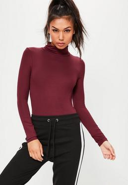Burgundy Long Sleeve Turtle Neck Bodysuit