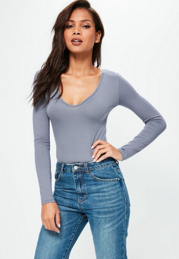 Blue Long Sleeve V Neck Bodysuit